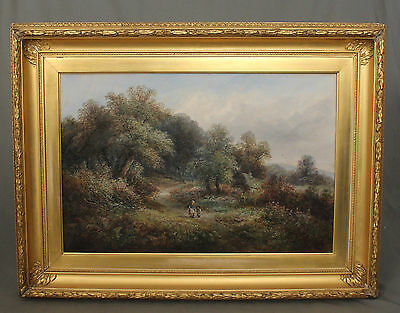19th Century Oil Painting Figural English Countryside Landscape