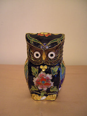 A Very Pretty Large & Colourful Cloisonne Owl Figure