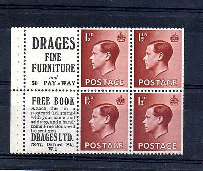 KING EDWARD VIII BOOKLET PANE OF 4 x 1½d PLUS ADVERTS MM