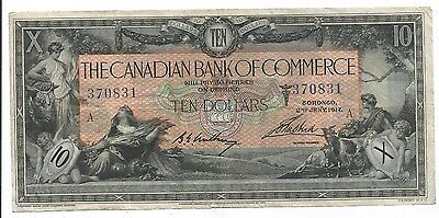 1917 Canadian Bank Of Commerce $10.00 Bill