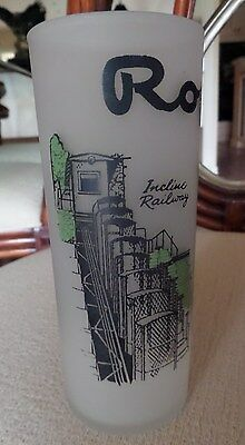 Royal Gorge souvernir frosted glass with colored (green/black) graphics 1950's