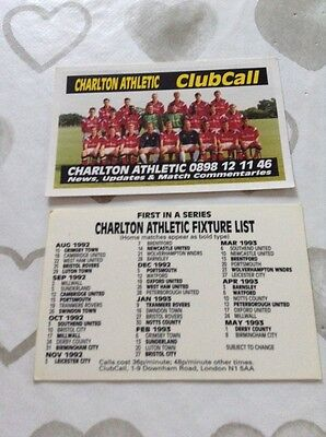 2 X Charlton Athletic Clubcall Fixture Cards 1991-92... 92-93