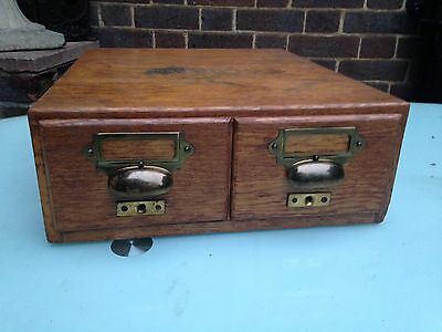 Vintage Oak Library Index Card Two Drawers Cabinet