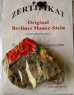 Authentic Piece of Berlin Wall a piece of german history with certificate COA