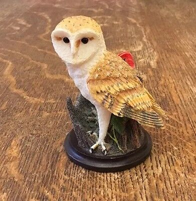 The Country Bird Collection - The Barn Owl Figurine With Poppy By Andy Pearce