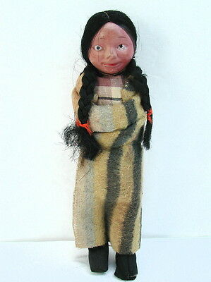 Vintage Native Indian Skookum Like Girl Doll w/ Weird Unusual Eyes