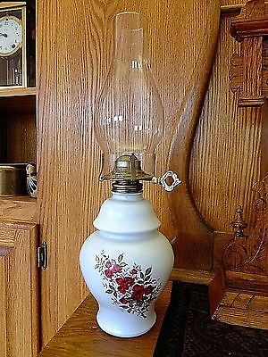 """Red Roses Glass Oil Lamp 17.25"""" Tall"""