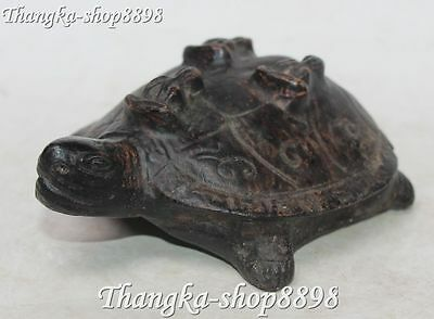 "6"" Collect Chinese Incense Ashes Turtle Tortoise Three Arhat Lohan Buddha Statue"