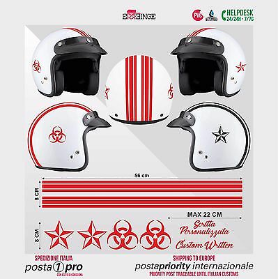 Kit ROSSO Biohazard Stella STICKER CASCO ADESIVO DECAL MOTO SCOOTER HELMET