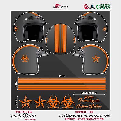 Kit ORANGE FLUO Biohazard Stella STICKER CASCO ADESIVO DECAL MOTO SCOOTER HELMET