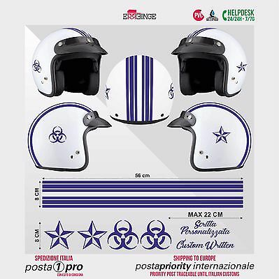 Kit BLU Frecce Strisce STICKER CASCO ADESIVO DECAL MOTO SCOOTER HELMET