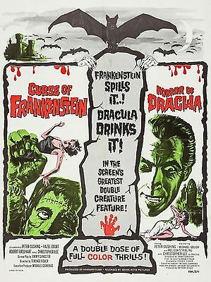 """Curse of Frankenstein / Horror Dracula 16"""" x 12"""" Repro Film Poster Photograph"""