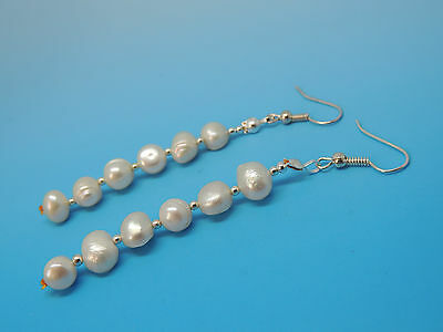 Old Natural Mother Pearl Beads Earrings Genuines