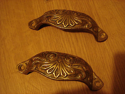 Pair of antique brass drawer pull handles