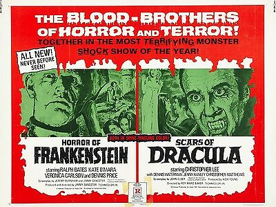 """Horror Frankenstein / Scars of Dracula 16"""" x 12"""" Repro Film Poster Photograph"""