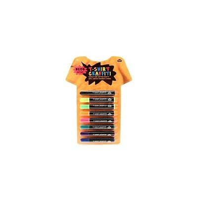 NPW Neon T-Shirt Graffiti Pens (Pack of 8) - Permanent Fabric Markers - NEW GIFT