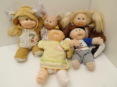 OAA Coleco Cabbage Patch Kids Doll Lot 5 Vtg Baby Fancy Fur Dress Reindeer Shoes
