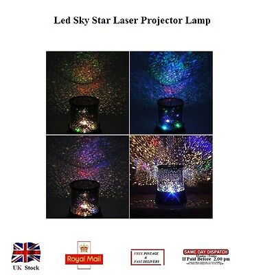LED Sky Star Laser Projector Lamp Starry Night Light Cosmos Lamp Party Kids UK
