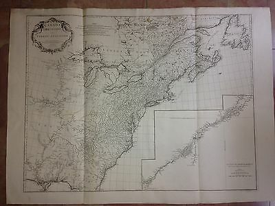 CANADA LOUISIANA 1755 by D'ANVILLE XVIIIe CENTURY VERY LARGE ANTIQUE MAP