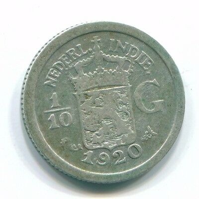 1920 Netherlands East Indies 1/10 Gulden Silver Colonial Coin Nl13361#3