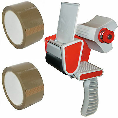 Packing Packaging Tape Gun Dispenser + Free 2 Brown Tape Rolls 66M Parcel Tape