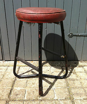 antique industrial furniture four leg stool machine shop seat pre WWII English