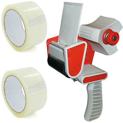 Packing Packaging Tape Gun Dispenser + Free 2 Clear Tape Rolls 66M Parcel Tape