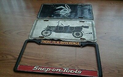 Vintage used SNAP-ON TOOLS THERE IS A DIFFERENCE METAL LICENSE PLATE FRAME +