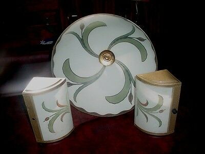 Antique Art Deco Hanging Chandelier Ceiling Light Fixture 2 wall sconces Vintage