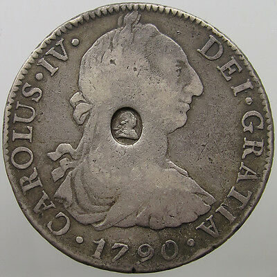 Great Britain 8 Reales 1790 Countermarked George Iii #t9 263