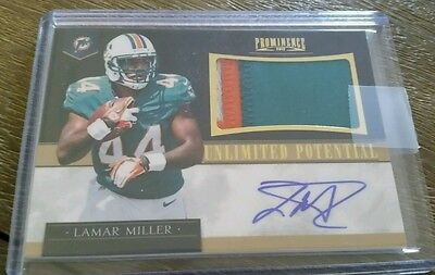 2012 Prominence Football Lamar Miller Unlimited Potential Rookie Patch Auto /15