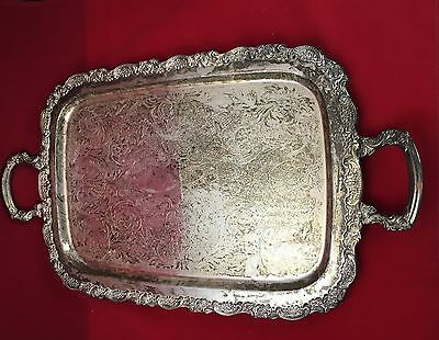 Vintage Ornate Oneida Silver Plate Butler Serving Platter Tray with Handles