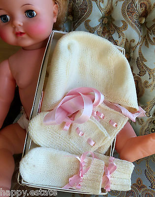 VINTAGE BABY KNITTED CAP, MITTENS, & BOOTIES, 1950s, IVORY & PINK in VINTAGE BOX