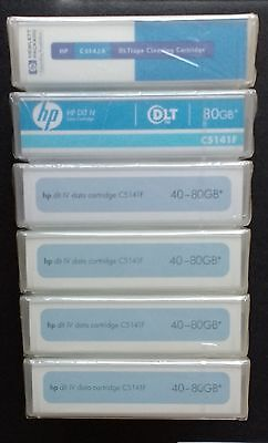 5 x HP DLT IV tapes - C5141F + Free Cleaning tape - C5142A - all New & Sealed