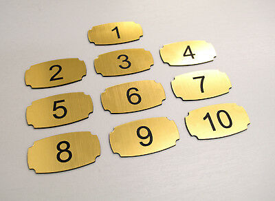 10 Adhesive Custom Laser Engraved Number Tags, Hotel, Table, Locker, Pub, Door.