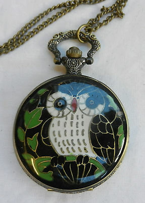 Antique / Steampunk Style Enamelled  Owl Pocket / Pendant  / Fob Watch - BNWT