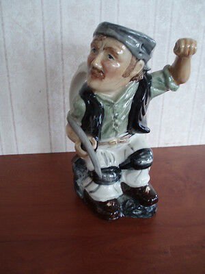 """Roy Kirkham Toby Jug Modeled As A Miner Handpainted In Staffordshire 7"""" High"""