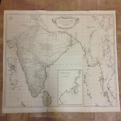 INDIA SIAM 1752 by D'ANVILLE XVIIIe CENTURY VERY LARGE COPPER ENGRAVED MAP