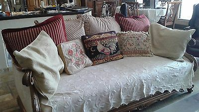 Antique Rare French Country Walnut Carved Daybed, Sofa Couch