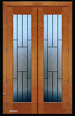 LEADED GLASS INTERIOR FRENCH DOORS OBSCURE ART GLASS  pre-hung in frame