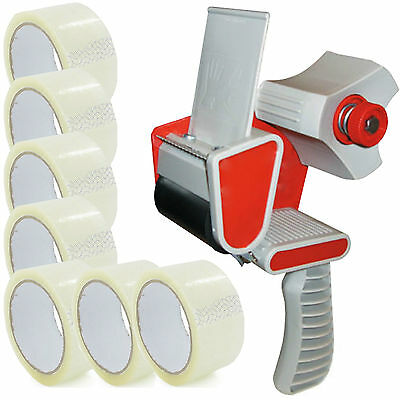 TAPE GUN DISPENSER + 6 HUGE ROLLS OF CLEAR BUFF 48MM x 66M PARCEL PACKING TAPE