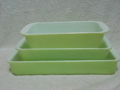 3 Pc Pyrex Lime Green Baking Dishes Small Lasagna Loaf Pan Casseroles