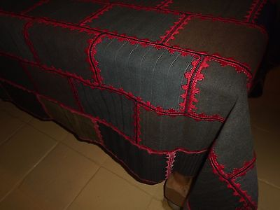 Vintage Hand Made  Worsted Wool  Quilt / Throw - Hand Stitching