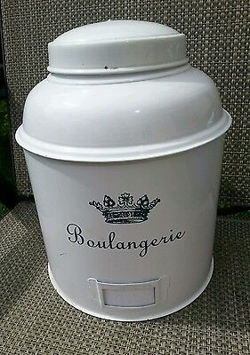 Boulangerie White Tin Container  Kitchen Bakery Decoration Holder