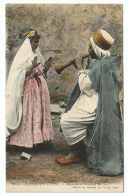 Algerie Postal Card To  France - Musician & Dancer - Blue Cancel Lot (Alg -C)