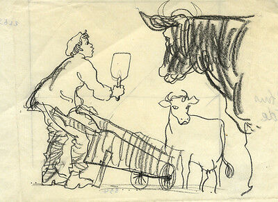 Paul Hogarth, Ox Cart - Original mid-20th-century charcoal drawing