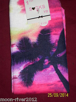 PALM TREE New ankle SOCKS, 12.5 -3.5, Age 7-10, Silky Polyester; Digital Photo