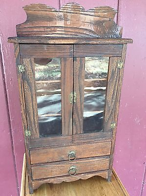 "Antique Dollhouse Wood Vanity Glass Doors 2 Drawers Apt. 18"" Tall"