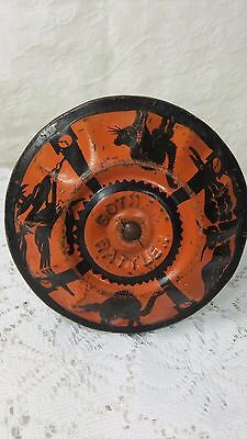 Gotham Rattler Great Old Tin Toy Noisemaker Witch - Cats - Owl