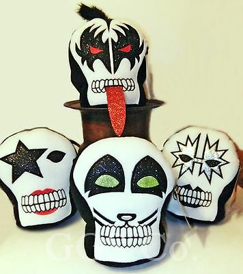 "KISS Plush Skulls Full Set of 4 NWT oop 16"" Official Licensed LAST SET! SALE!"